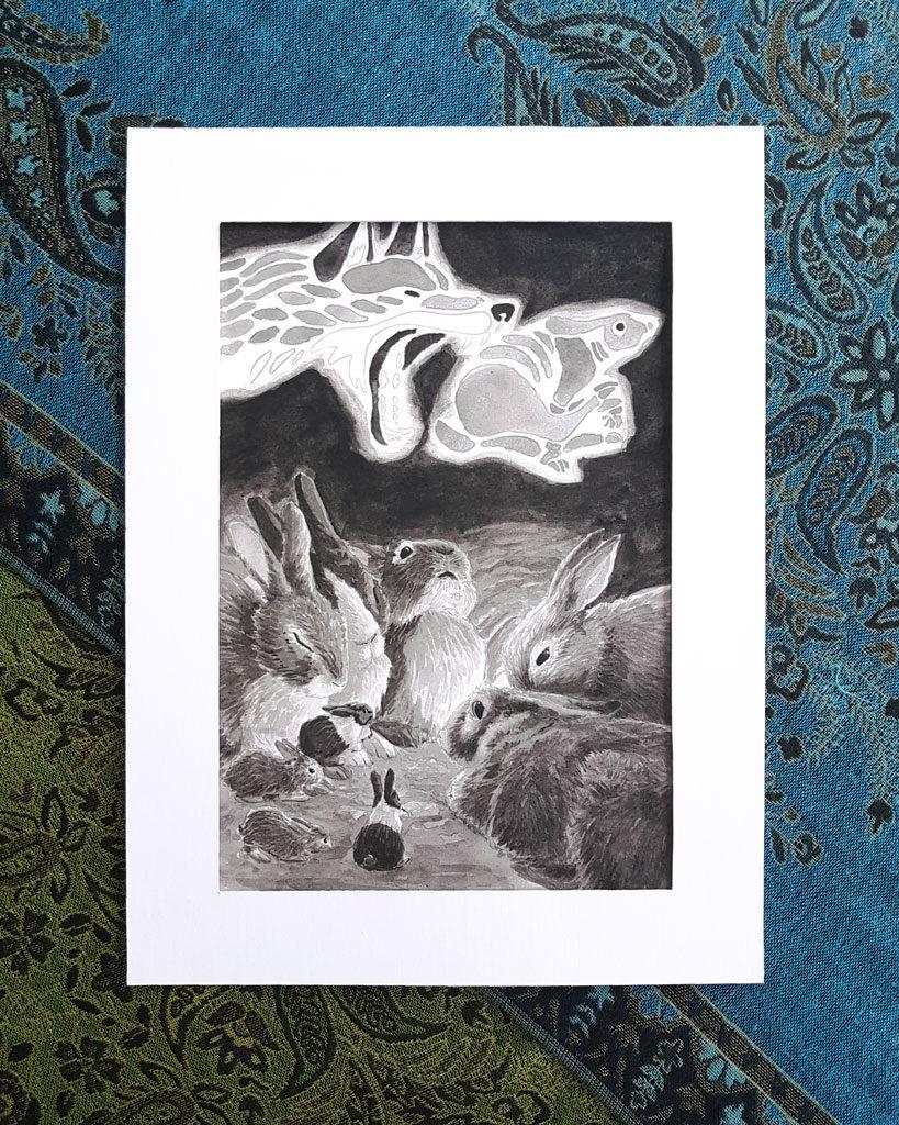Rabbits telling stories in their warren.