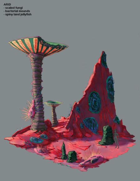 Arid Environment Design Concept Art for Pillar of Fire