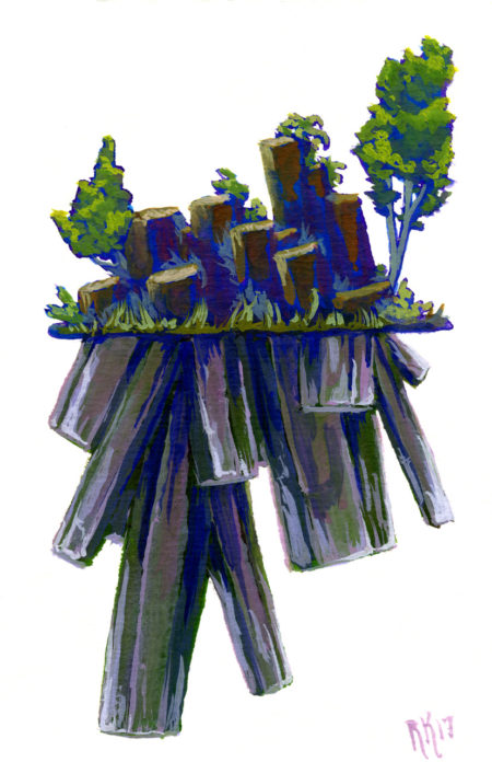 Blue Silhouette Crystal Island