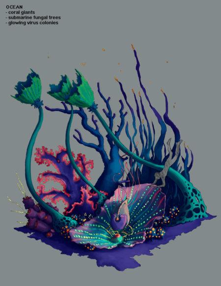 Ocean Environment Design Concept Art for Pillar of Fire