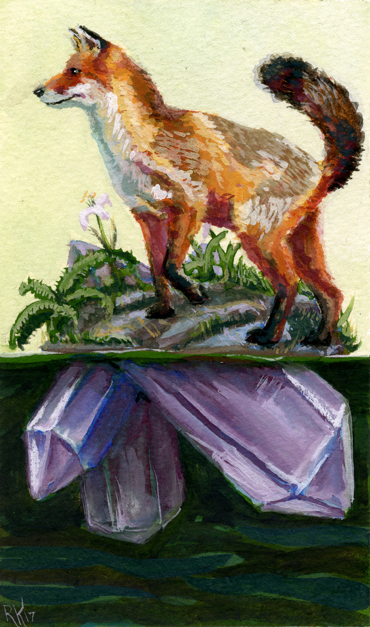 A red fox perches on top of a small stony island, which turns into amethyst pillars below the dark water.